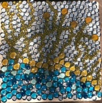 12 x 12 cement stepping stone base with glass cabochons and glass tiles